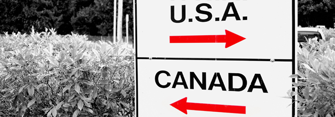 Sign on the border between Canada and the U.S.A.