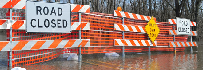 A street barricaded due to flooding