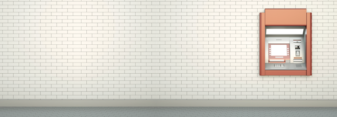 White subway tiled wall with red ATM bank machine installed