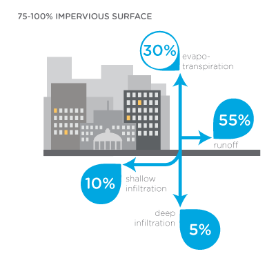Infographic: Hydrology in urbanized areas with 75-100% impervious surface: 30% evaporation; 55% runoff; 5% deep infiltration; 10% shallow infiltration