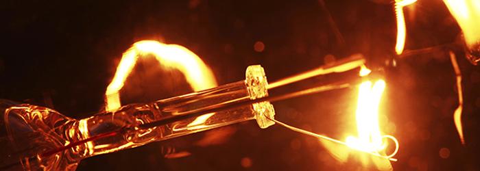close up of light bulb filament