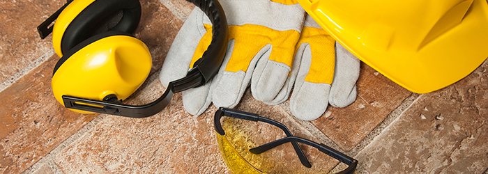 Yellow safety equipment for construction