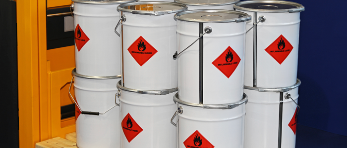Barrels of flammable liquids