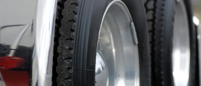 Truck tires close up.