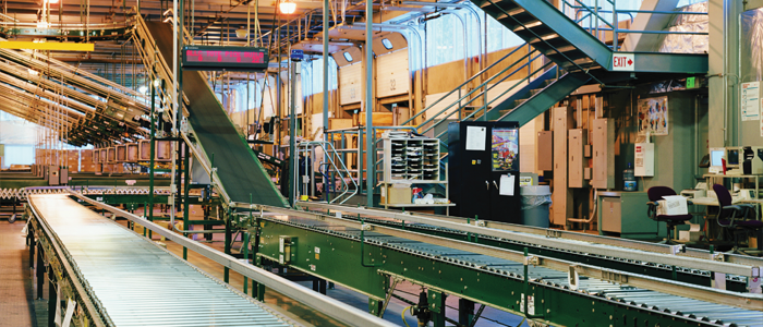Conveyor belt in a large factory