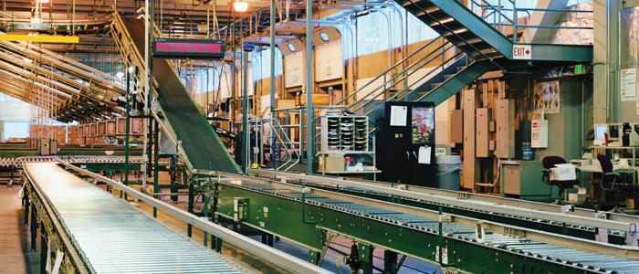 Conveyor belt in a large factory