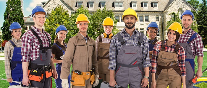 group of contractors in front of a house.