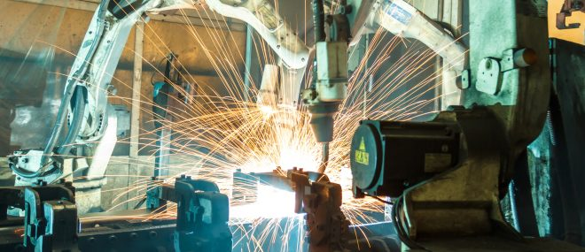 sparks flying from a machine.
