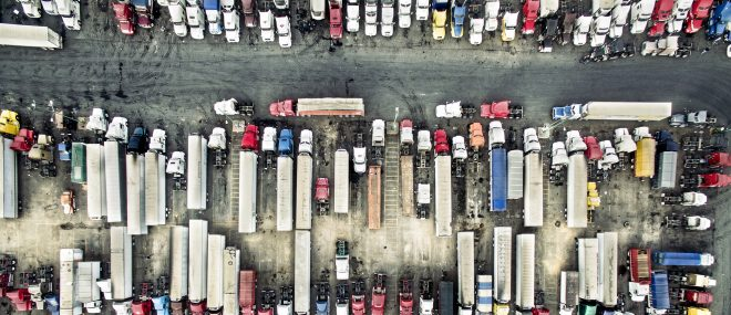 Aerial view of trucks and trailers