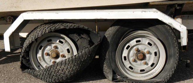 Truck tires blown out
