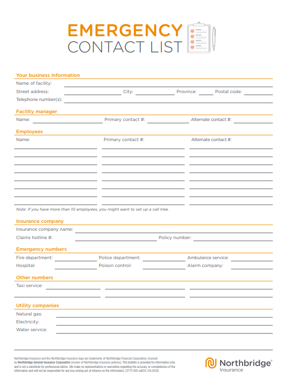 Northbridge Emergency Contact List Template