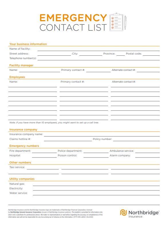 Northbridge Emergency Contact List Template
