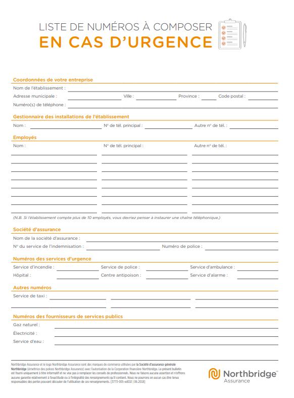 Modèle Northbridge de liste de personnes à joindre en cas d'urgence
