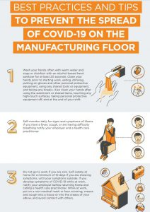 NBI- 6 best practices and tips to prevent the spread of covid-19 on the manufacturing floor infographic