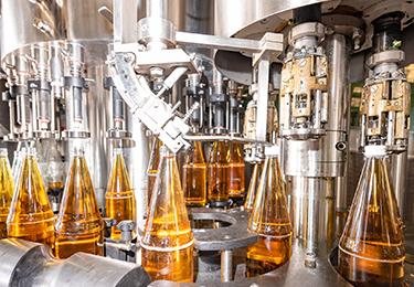 Juice bottling assembly line.