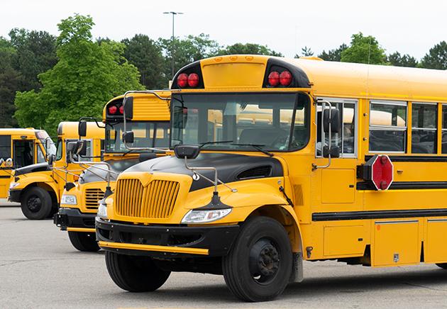 Row of school buses.