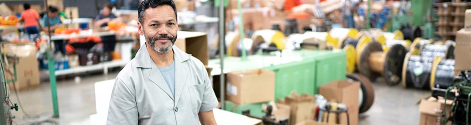 Manufacturing man in warehouse