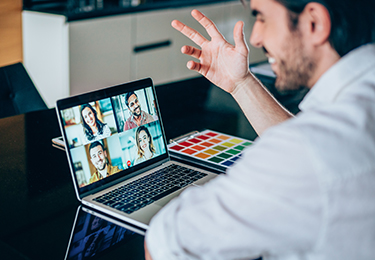 Consumer consultant on computer